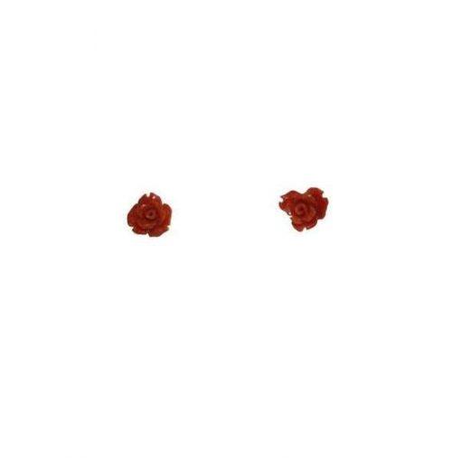 """Orecchini corallo forma di """"rosa"""""""