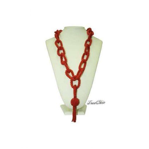 Collana corallo rosso tessito ad anelli