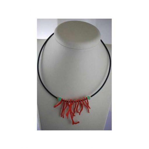 Collana corallo naturale, agata e argento