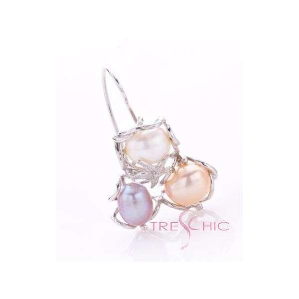 Orecchini con perle di fiume naturali-326
