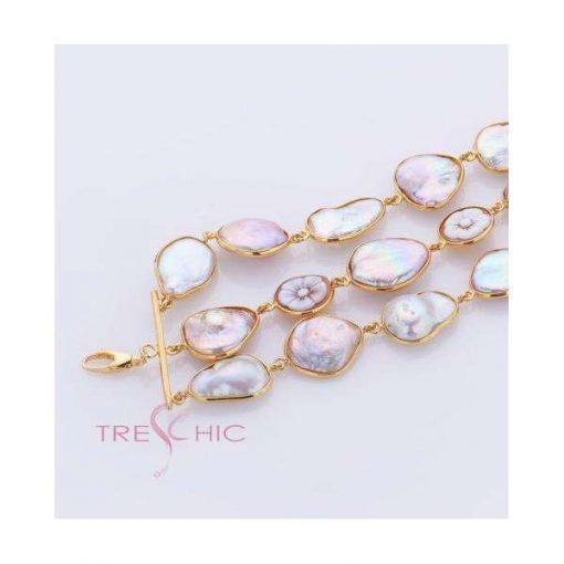 Bracciale con perle di fiume naturali e cammei-328