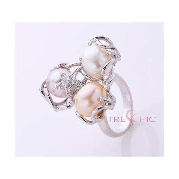 Anello con perle di fiume naturali-329