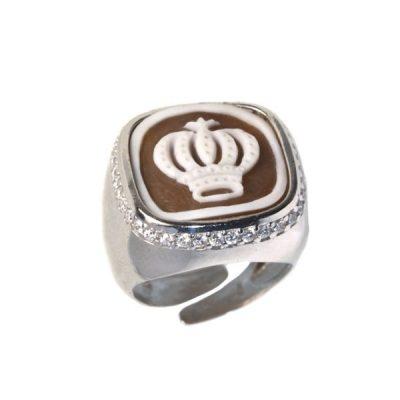 cammeo, argento, anello, zirconi, corona