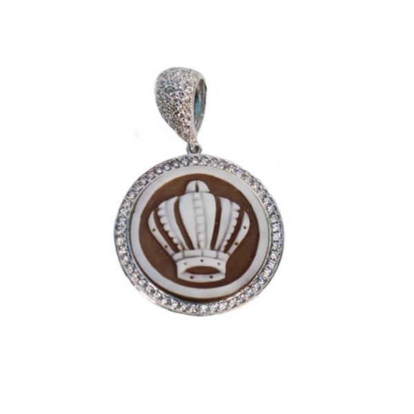cammeo, argento, ciondolo, zirconi, corona