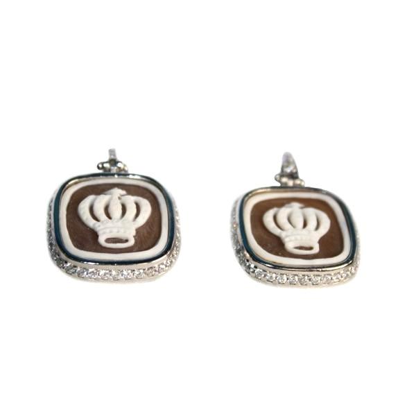 cammeo, argento, orecchino, zirconi, corona