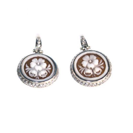 cammeo, argento, orecchino, zirconi, fiore