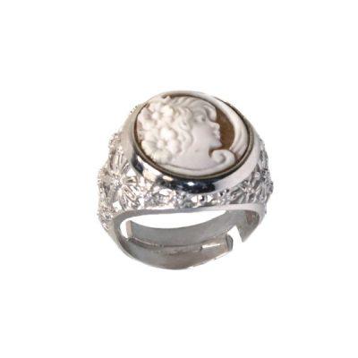cammeo, argento, anello, zirconi, donna