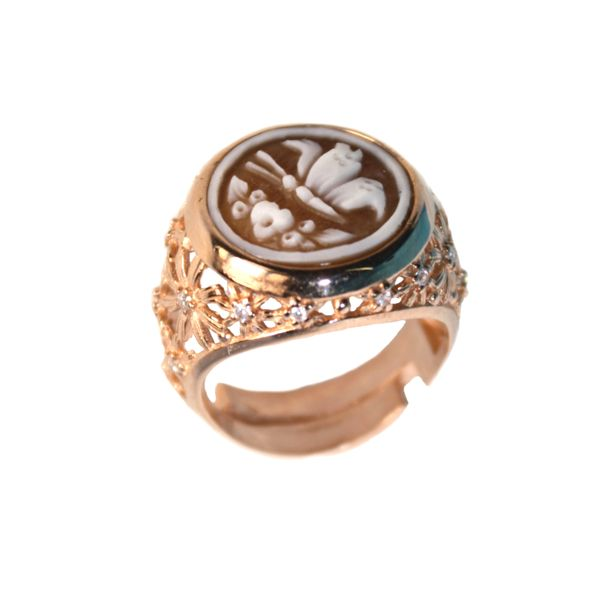cammeo, argento, anello, zirconi, farfalla