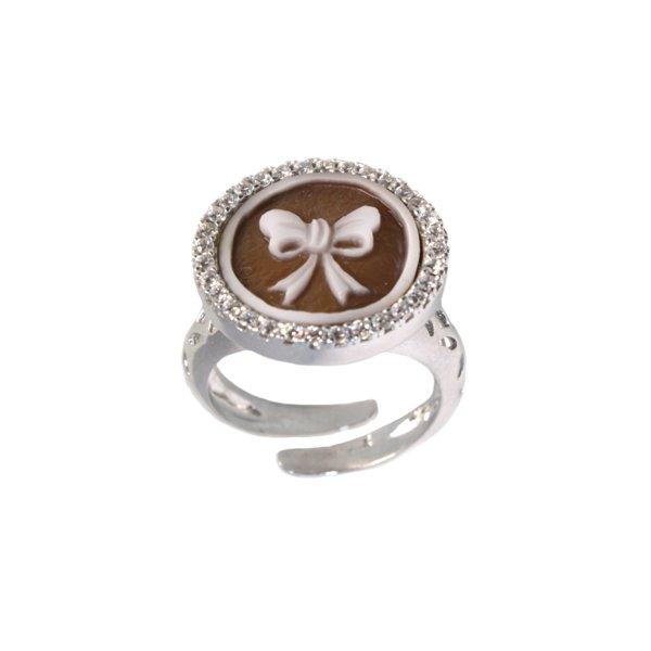 cammeo, argento, anello, zirconi, fiocco