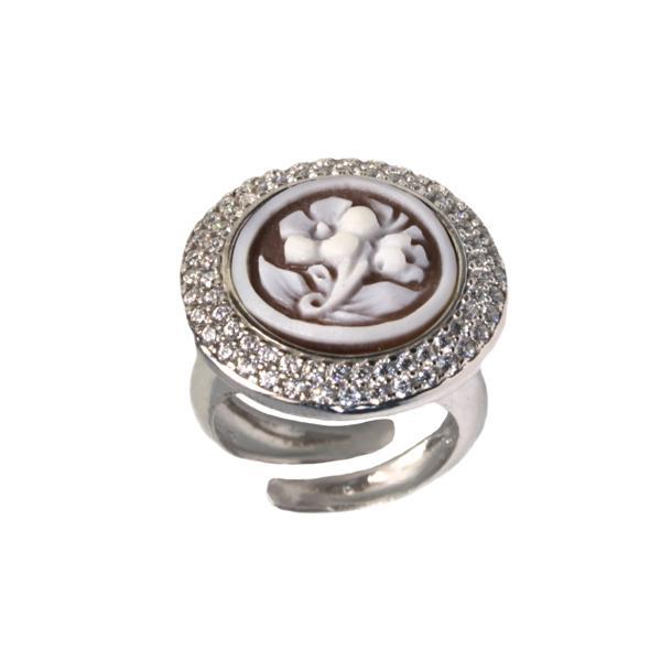 cammeo, argento, anello, zirconi, fiori