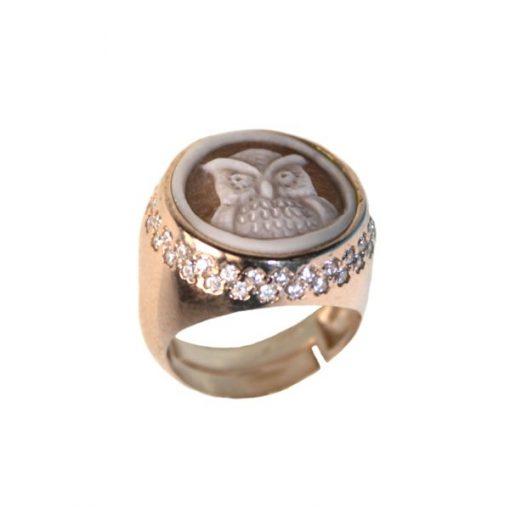 cammeo, argento, anello, zirconi, gufo