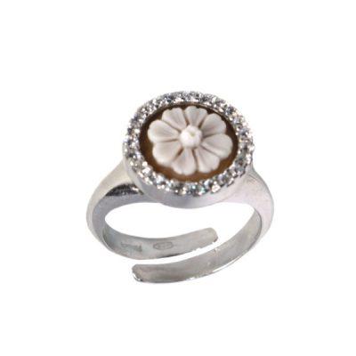 cammeo, argento, anello, zirconi, margherita