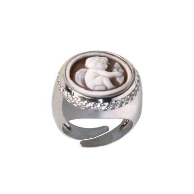 cammeo, argento, anello, zirconi, puttino
