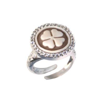 cammeo, argento, anello, zirconi, quadrifoglio