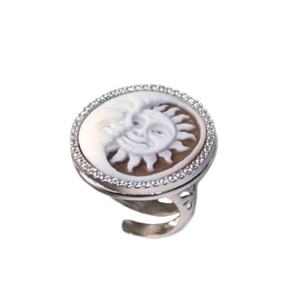 cammeo, argento, anello, zirconi, sole luna