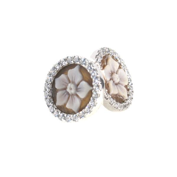 cammeo, argento, zirconi, fiori