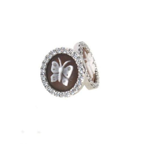cammeo, argento, zirconi, farfalla